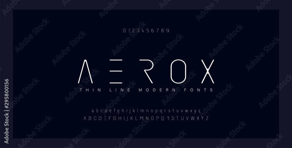 Fototapeta Abstract thin line font alphabet. Minimal modern fonts and numbers. Typography typeface uppercase lowercase and number. vector illustration