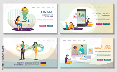 Set Of Web Pages For Online Courses And Trainings Webinar Distance Education E Learning Knowledge Mobile Learning App Vector Illustration For Poster Banner Presentation And Website Buy This Stock Vector And Explore