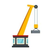 Port Crane Icon. Flat Illustration Of Port Crane Vector Icon For Web Design