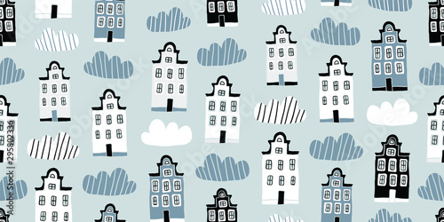 Photo Seamless pattern, hand drawn scandinavian houses