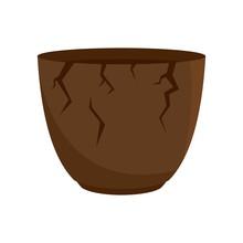 Stone Age Cracked Pot Icon. Flat Illustration Of Stone Age Cracked Pot Vector Icon For Web Design