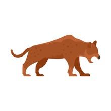 Stone Age Jaguar Icon. Flat Il...