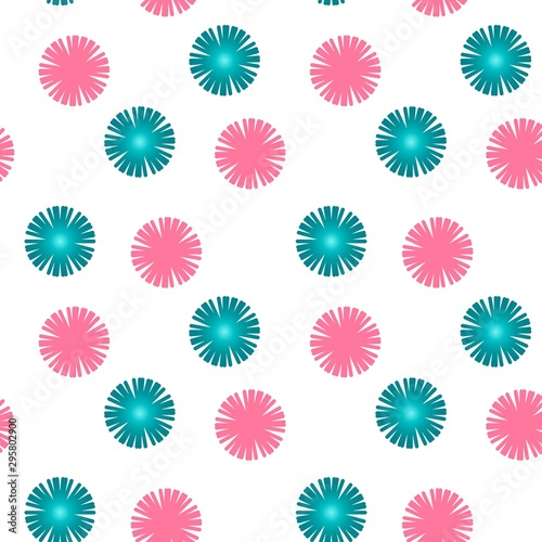 Fotomural  Pink and green abstract seamless pattern