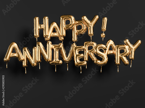 Happy Anniversary gold and black banner Fototapet
