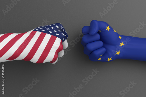 USA vs EU, American and The European Union flags trade war, confrontation of Ame Canvas Print