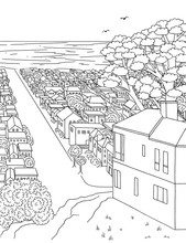 Hand Drawn Ink Illustration Of A House On A Hill With View Towards The Ocean, Inner Parkside, San Francisco