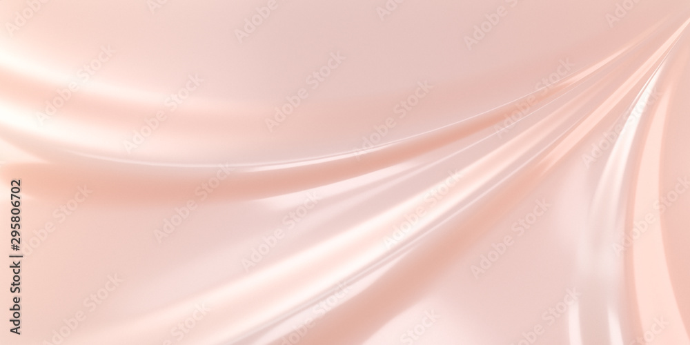 Fototapety, obrazy: Liquid subtle pink background, cosmetic cream texture, fluid gentle surface. 3d illustration