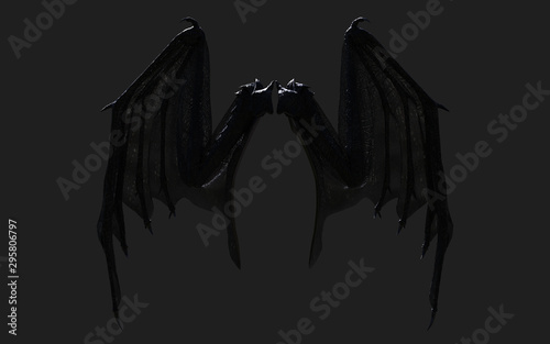 Foto 3d Illustration Dragon Wing, Devil Wings, Demon Wing Plumage Isolated on Black Background with Clipping Path