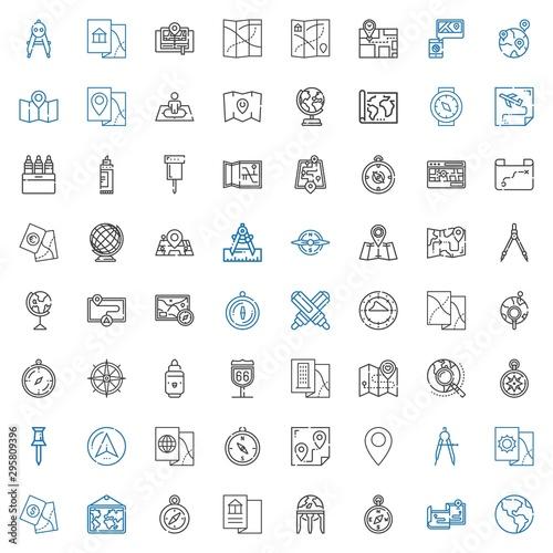 Cuadros en Lienzo  cartography icons set