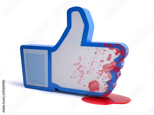 social network hand icon with blood, online hate concept Canvas Print