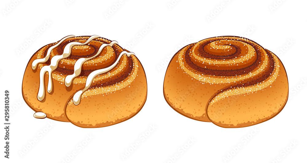 Fototapety, obrazy: Cinnamon rolls set in cartoon style vector illustration.