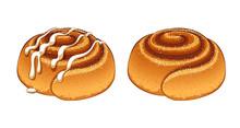 Cinnamon Rolls Set In Cartoon ...