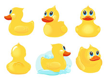 Rubber Duck. Bath Yellow Cute Toys Water Funny Games Vector Duck Cartoon Illustrations. Rubber Duck, Toy Baby Ducky, Duckling Character