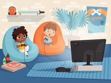 Video Game Room. Kids At Sofa ...