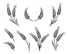 Bakery Set Of Wheat Ears Icon ...