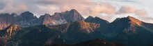 Mountain Peaks At Sunset. Tatra Mountains In Poland.