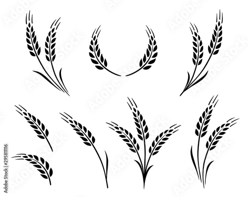 bakery set of wheat ears icon logo Canvas-taulu
