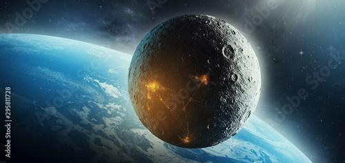 Vászonkép moon colonization futuristic space science fiction 3d illustration