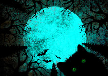 Halloween Holiday Blue Teal Black Grunge Background With Black Cat With Green Eyes, Full Moon, Silhouettes Of Bats. Mixed Media.