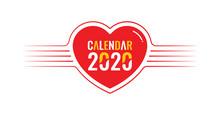 2020 Calendar Concept With Heart Theme. 2020 Calendar Header Design. 2020 Logo