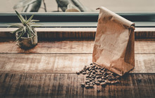 Roasted Coffee Beans In Bag An...