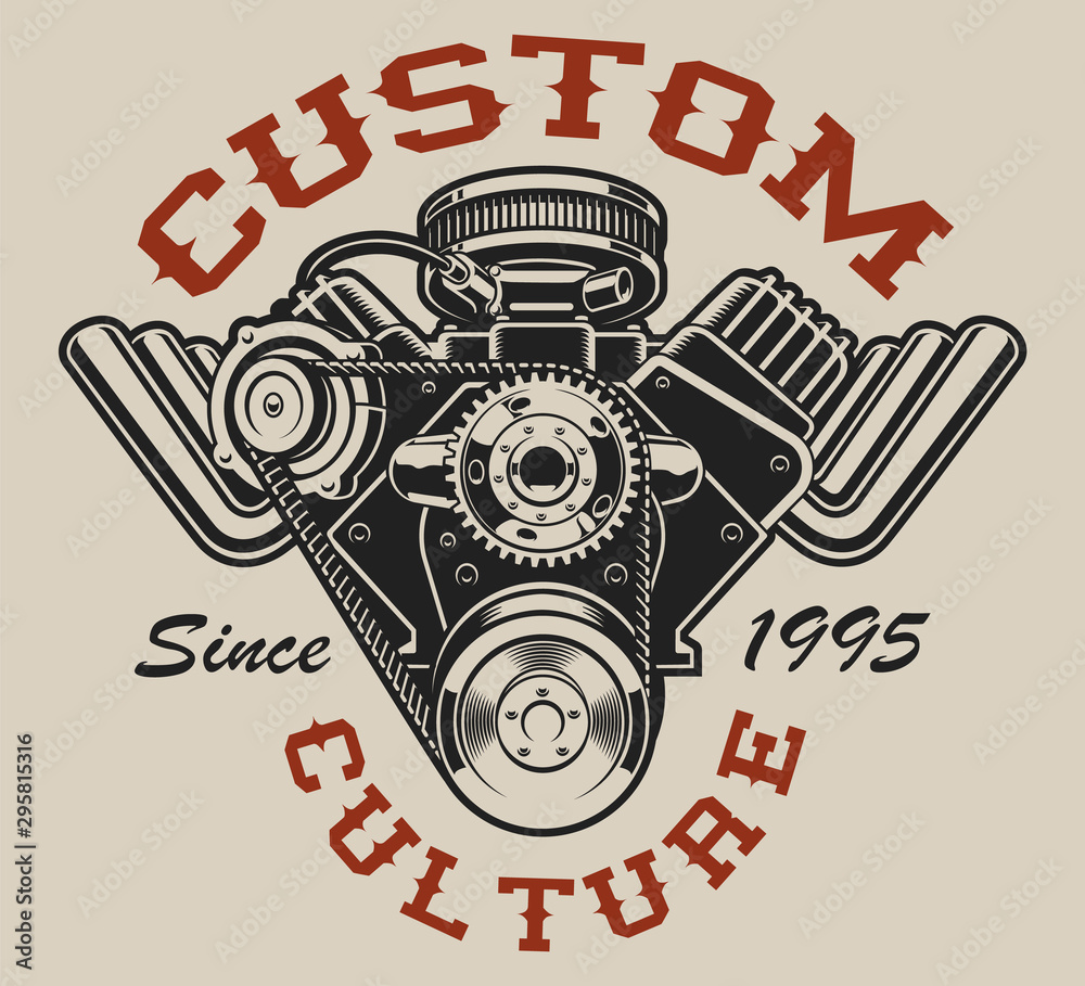 Fototapeta T-shirt design with a hot rod engine in vintage style on the white background.