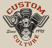 T-shirt Design With A Hot Rod Engine In Vintage Style On The White Background.