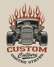 T-shirt Design With A Hot Rod