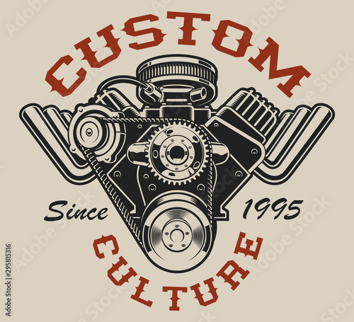 Canvas Print T-shirt design with a hot rod engine in vintage style on the white background