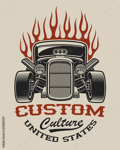 Fotografia T-shirt design with a hot rod
