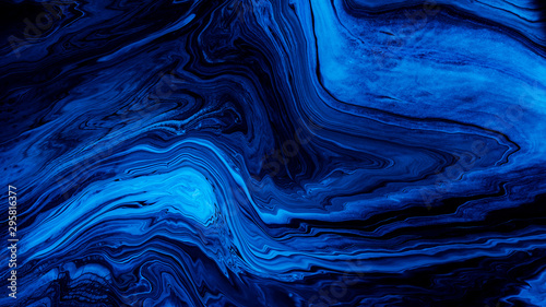 Foto auf Gartenposter Abstrakte Welle Blue Acrylic Pour Color Liquid marble abstract surfaces Design.
