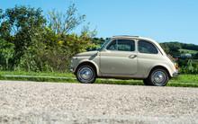 Vintage Beige Color Car. Small Old Car. Italian Car.