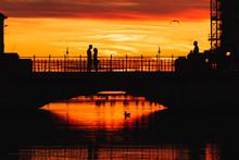 Romance Time On Trieste Bridge, Italy