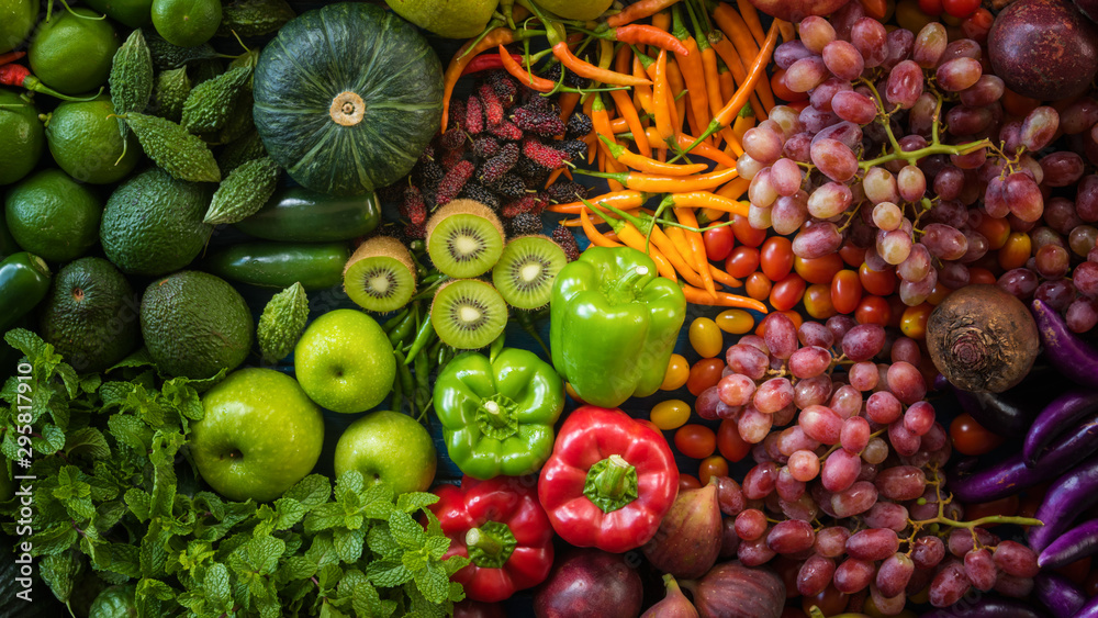Fototapeta Top view different fresh fruits and vegetables organic on table top, Colorful various fresh vegetables for eating healthy and dieting