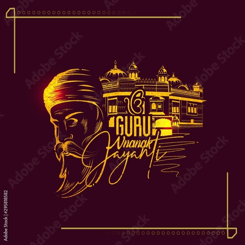 illustration of Happy Gurpurab, Guru Nanak Jayanti festival of Sikh celebration Canvas-taulu
