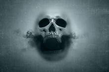 Human Skull With Dark Smoke Fr...