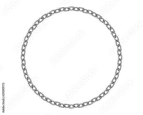 Leinwand Poster Realistic metal circle frame chain texture