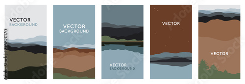 Fototapeta Vector illustration in trendy flat style and with copy space for text - landscape with mountains and hills- vertical banners, backgrounds obraz