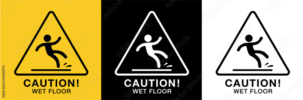 Fototapeta wet floor sign icon vector,3 background colors