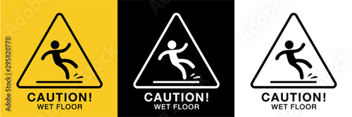 Fotografiet wet floor sign icon vector,3 background colors