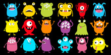 Monster Colorful Silhouette Super Big Icon Set. Happy Halloween. Eyes, Tongue, Tooth Fang, Hands Up. Cute Cartoon Kawaii Scary Funny Baby Character. Flat Design. Black Background.