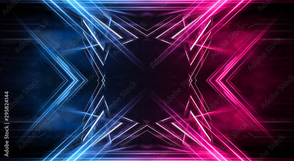 Fototapety, obrazy: Abstract futuristic neon tunnel Dark room fluorescent bright purple and pink neon glow Virtual background space corridor shape tunnel