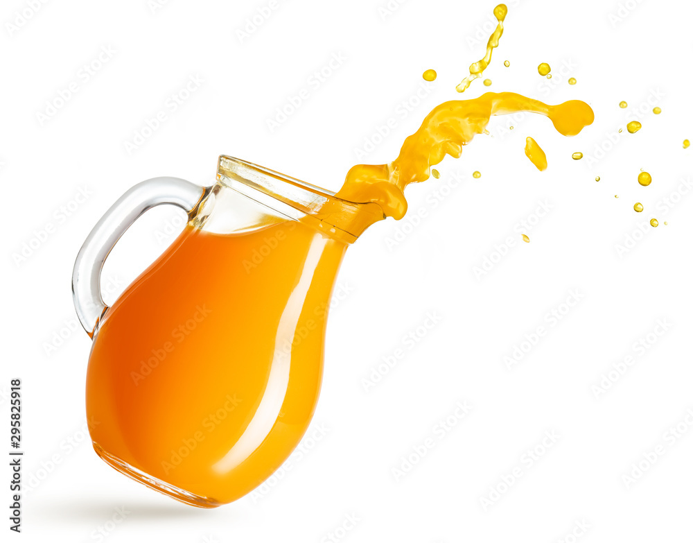 Fototapeta flying pitcher spilling orange juice isolated on white