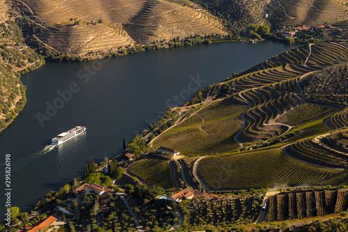 Obraz UNESCO World Heritage, a Cruise in  Douro River, Vineyards Valley in Sao Joao da Pesqueira, Viseu, Portugal. - fototapety do salonu
