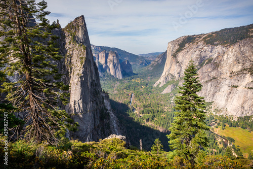 Photo View from 4 Mile trail of Yosemite Valley including El Capitan, Sentinel Rocks, Cathedral Rocks and the Merced River