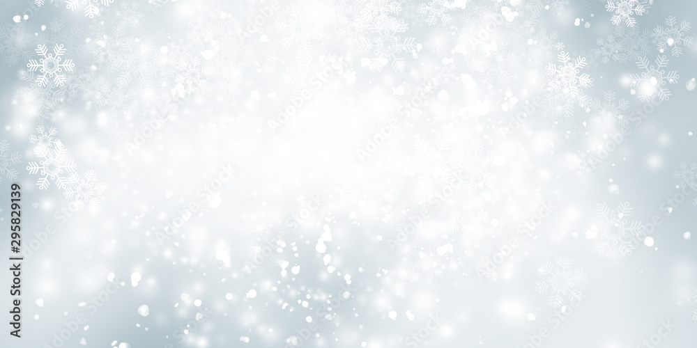 Fototapety, obrazy: white and grey snows blurred abstract background. bokeh christmas blurred beautiful shiny Christmas lights