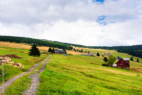 Fototapeta View of hiking trails and Karkonosze (Krkonose) mountains national park at the Poland and Czech Republic border.Scenic summer landscape with beautiful views. Spindlerov Mlyn is a popular tourist place obraz