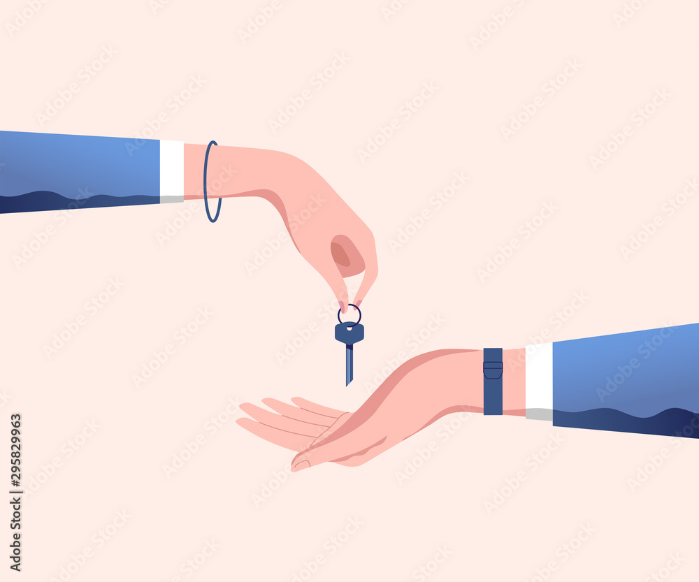 Fototapeta Hand of real estate agent gives house door keys to hand of customer. Buy, rental or lease a house. Vector illustration.