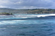 View of the waves from Sunset Point beach at Sandy Bay, Nusa Lembongan, Indonesia