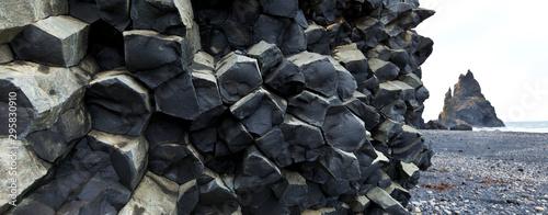 Columnar basalt, Reynisdrangar, Vik, Southern Iceland, Iceland, Europe